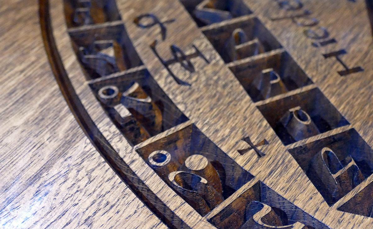 Powierzchnia stolika kawowego Aztec, detal