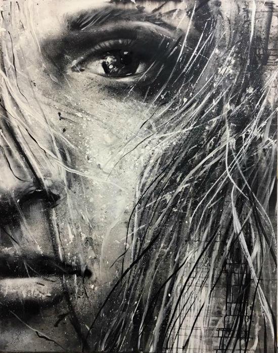 obraz Szymona Hołubowskiego, dziewczyna, czarno- biały